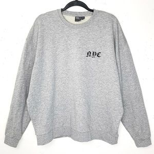 Asos NYC Gray Crewneck Graphic Sweatshirt